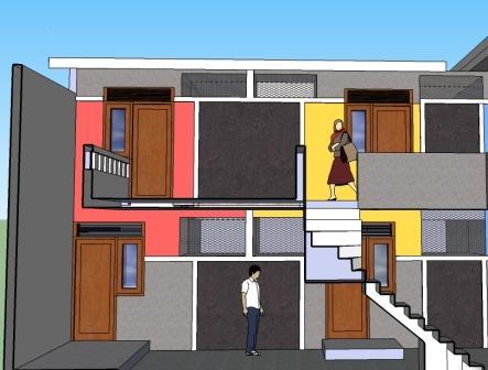 desain rumah kontrakan petakan 2 lantai